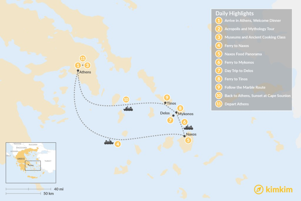 Map of Past and Present in Athens, Tinos, Mykonos & Naxos - 11 Days