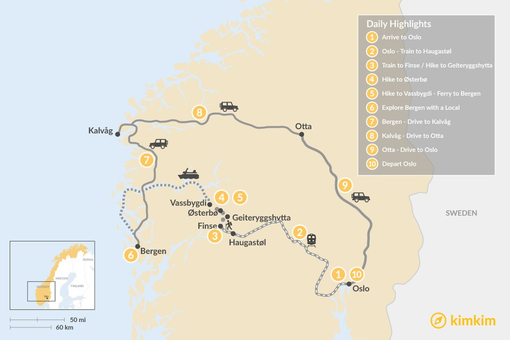Map of Nordic Self-Guided Trek & Road Trip - 10 Days
