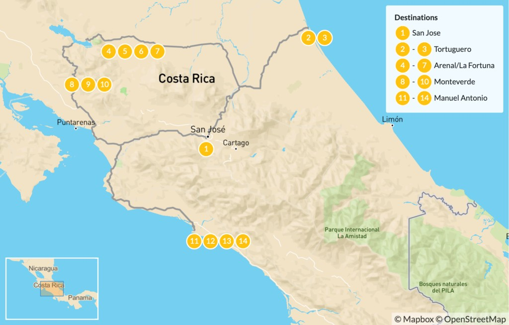Map of Costa Rica: Ultimate National Parks Tour - 15 Days