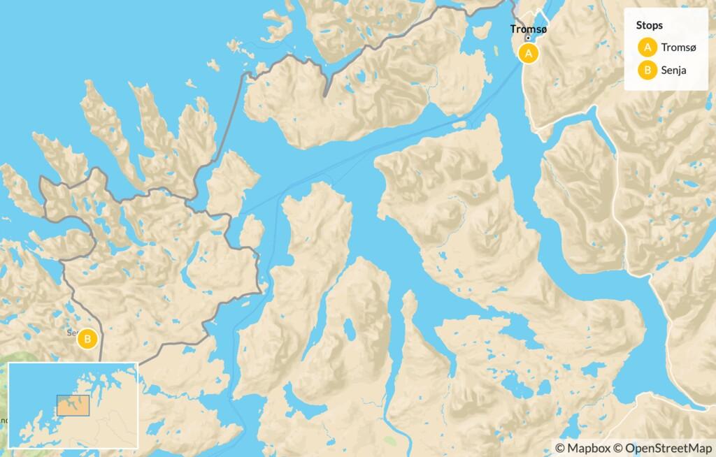 Map of Arctic Norway Summer Road Trip:  Tromsø & Senja - 7 Days