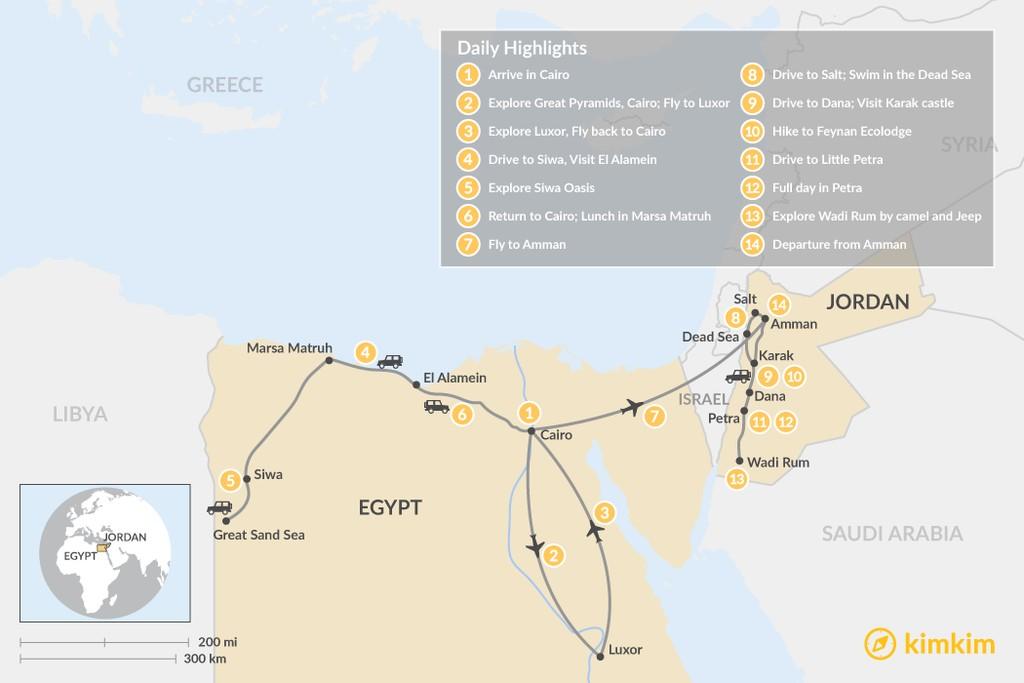 Map of Off the Beaten Path: Egypt & Jordan - 14 Days