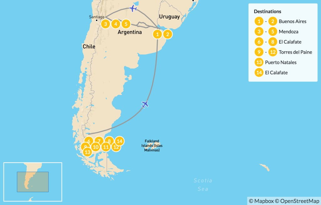 Map of Best of Argentina & Torres del Paine - 15 Days