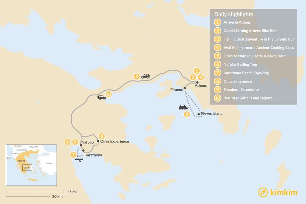 Map of Argolic Gulf Adventure - 10 Days