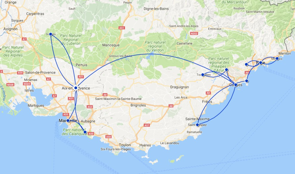 Map of Relaxed Provence & French Riviera - 10 Days