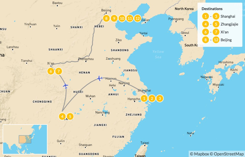 Map of Highlights from Shanghai to Beijing - 12 Days