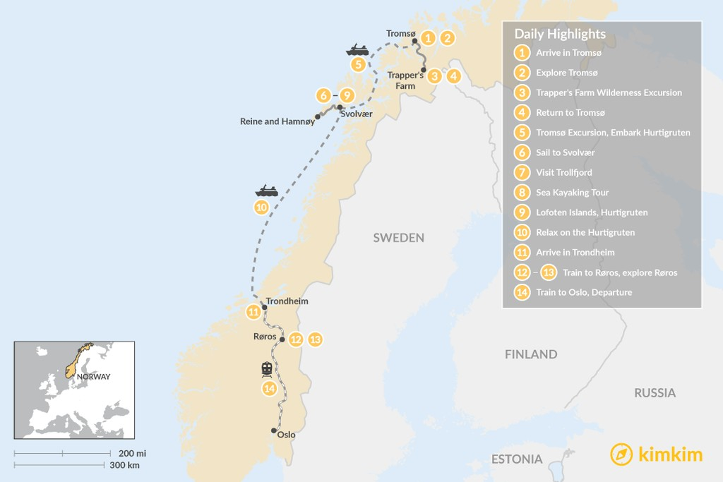 Map of Norway Winter Wonderland Tour - 14 Days