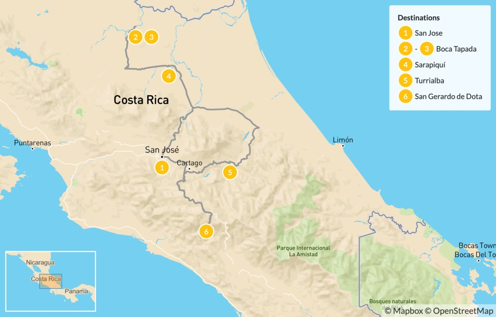 Map of Ultimate Birding Road Trip in Costa Rica - 7 Days