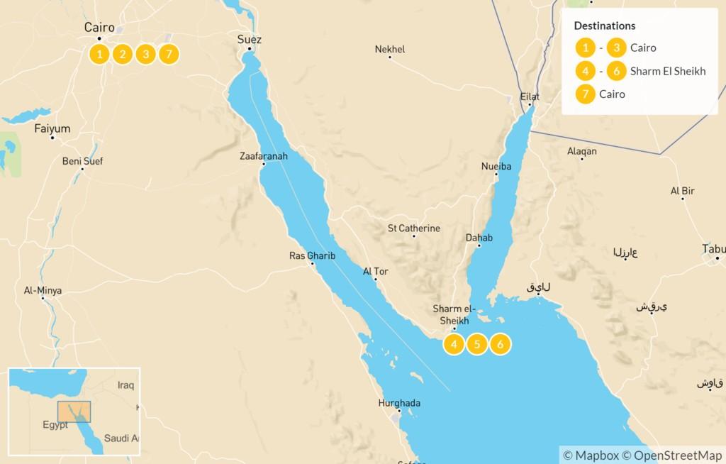 Map of Explore Egypt: Cairo, Alexandria, & Sharm El Sheikh - 7 Days