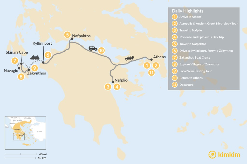 Map of Historic Peloponnese and Zakynthos - 11 Days
