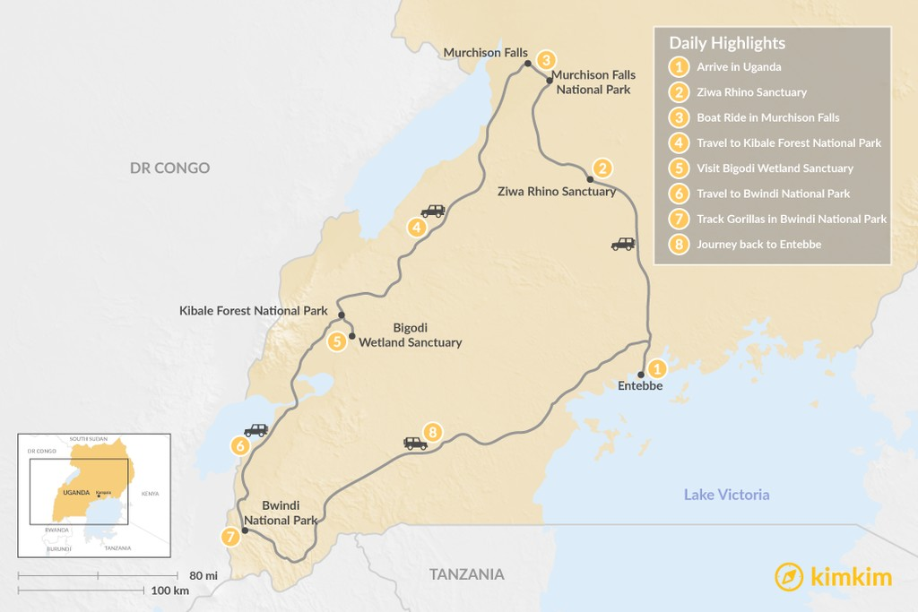 Map of Explore the Nature and Wildlife of Uganda - 8 Days