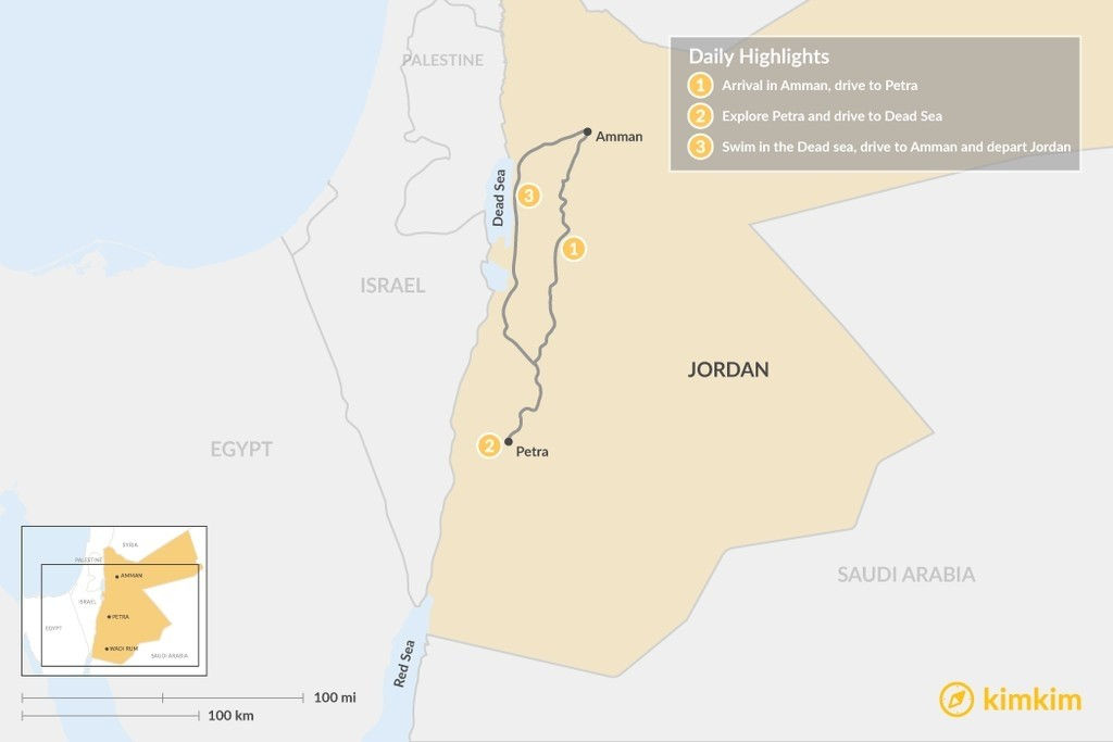 Map of Jordan: Petra & the Dead Sea - 3 Days
