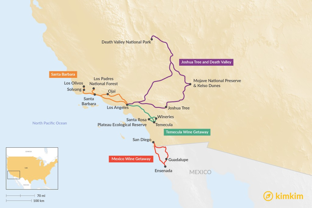 Map of Long Weekend Trips in Southern California - 4 Unique Ideas