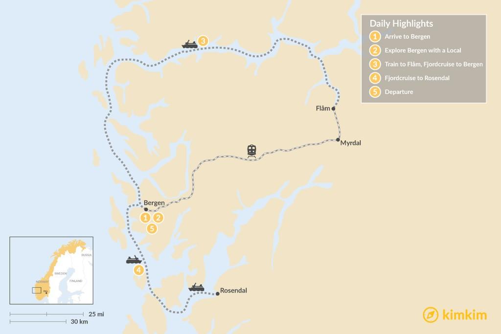 Map of Bergen, Fläm & the Hardangerfjord - 5 Days