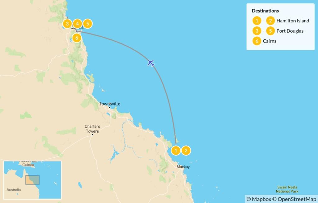 Map of Tropical North Queensland: Hamilton Island, Port Douglas, Cairns, & More - 7 Days