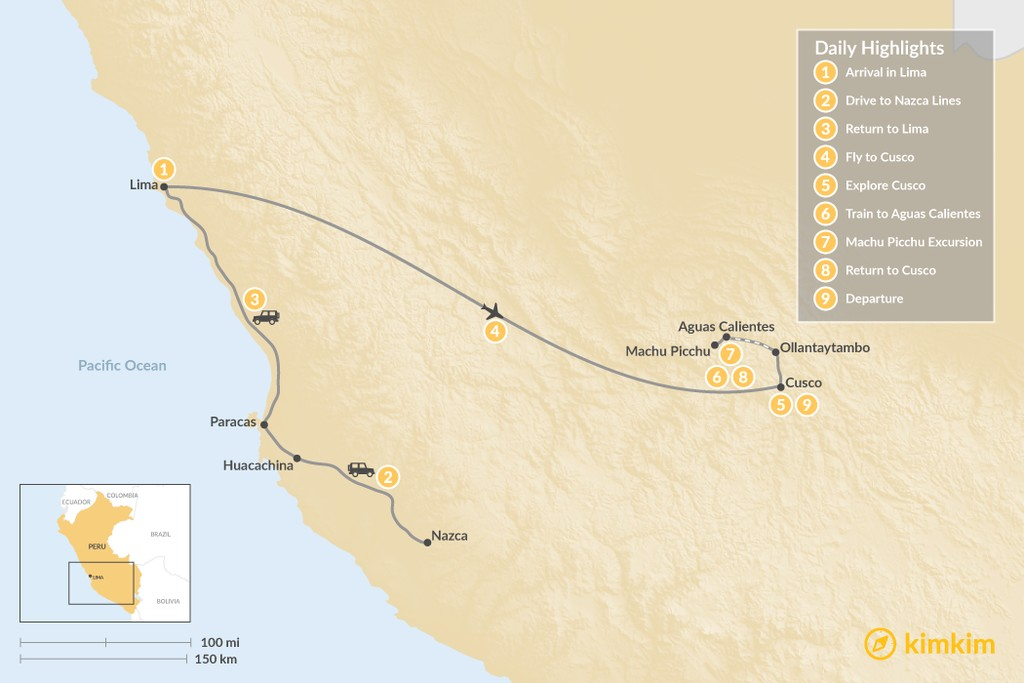 Map of Peru's Cultural Highlights & Nazca Lines - 9 Days