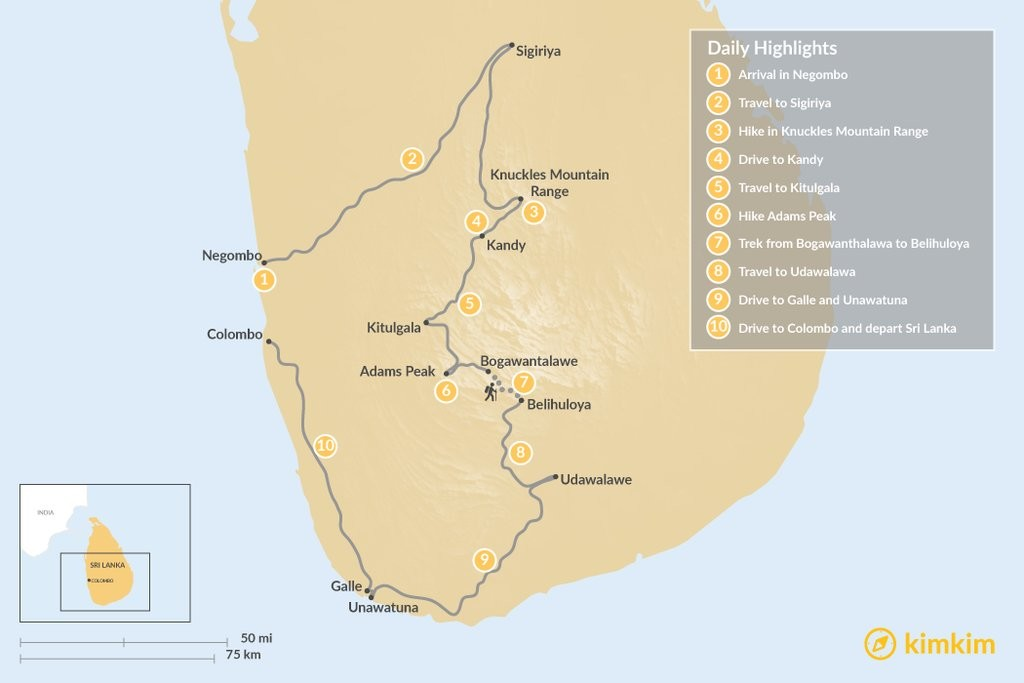 Map of Sri Lanka: Trails of the Ancient Kingdom - 10 Days