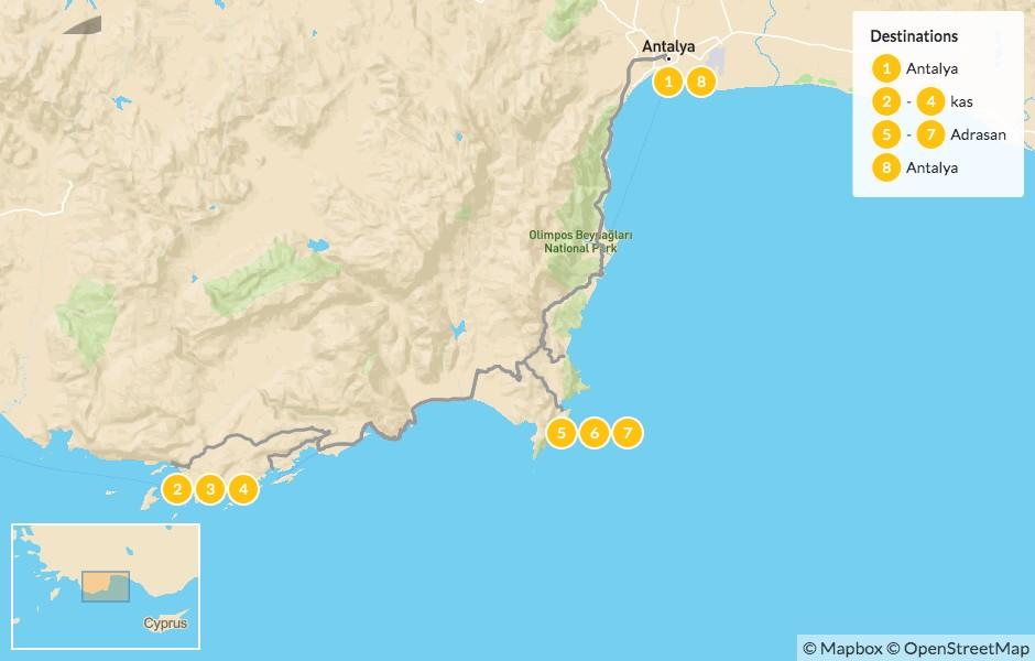 Map of Hiking the Lycian Way in Turkey: Kas, Adrasan & Antalya - 9 Days