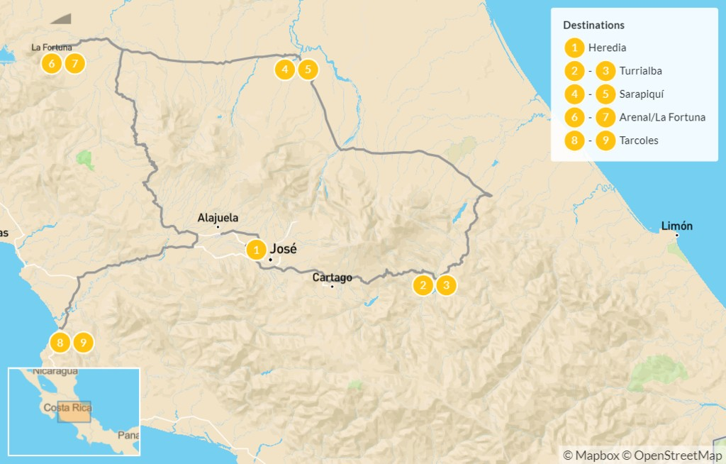 Map of Costa Rica Birding & Nature Adventure - 10 Days