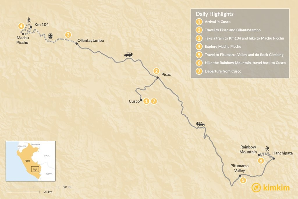 Map of Cusco Ridges - 8 Days