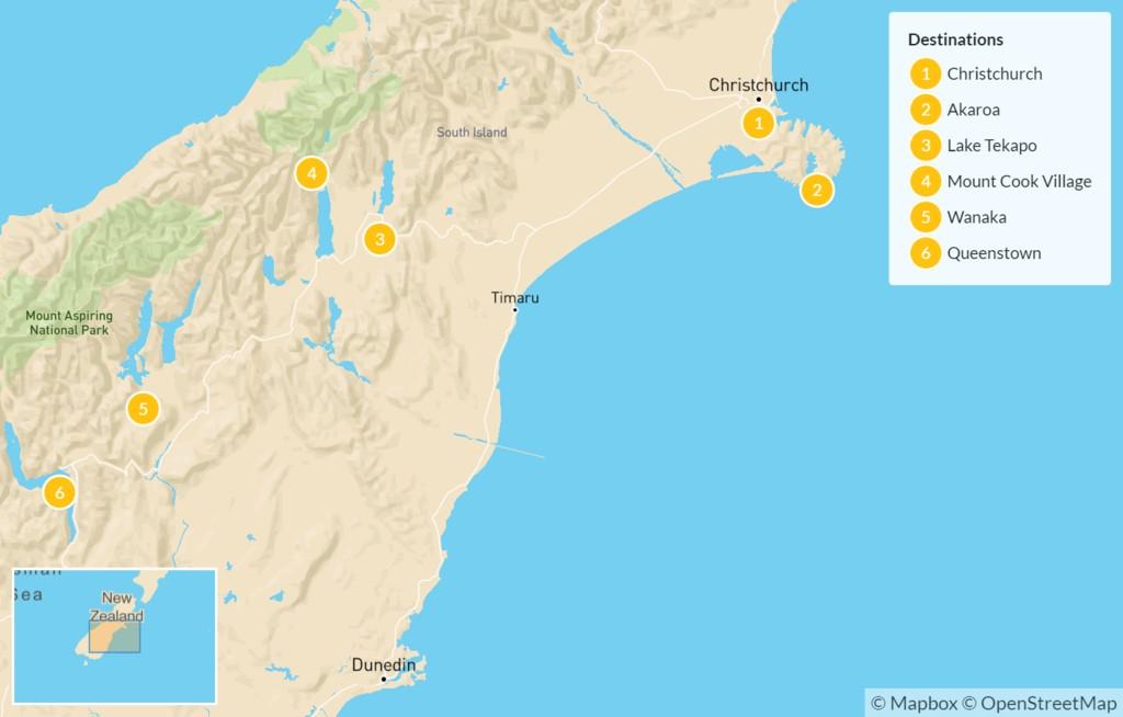 Map of South Island Exploration: Christchurch, Akaroa, Lake Tekapo, Mt Cook, Wanaka, & Queenstown - 7 Days