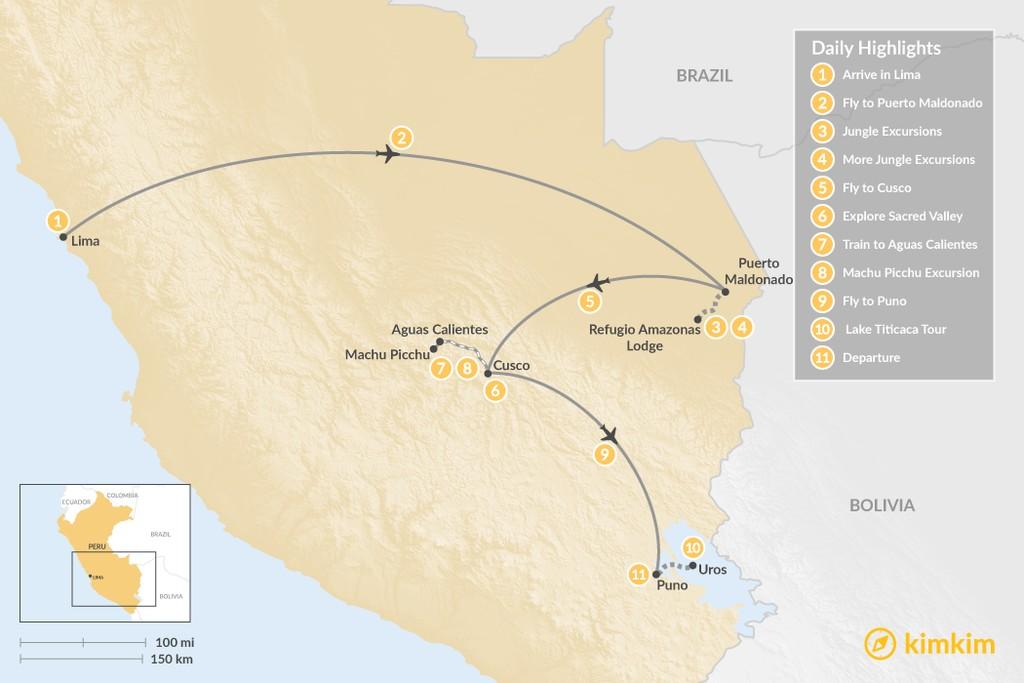 Map of Peru Highlights & Jungle Adventure - 11 Days