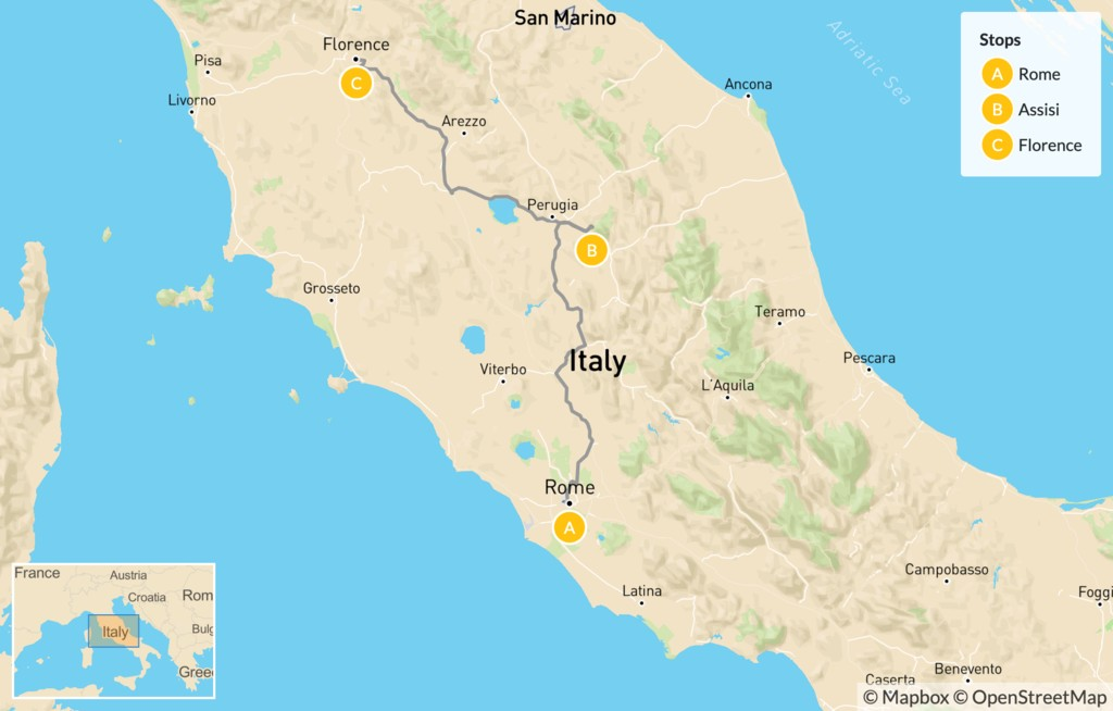 Map of Rome, Assisi, & Florence - 7 Days