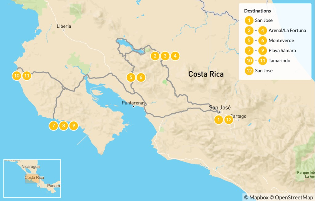 Map of Costa Rica Self-Drive Vacation - 13 Days