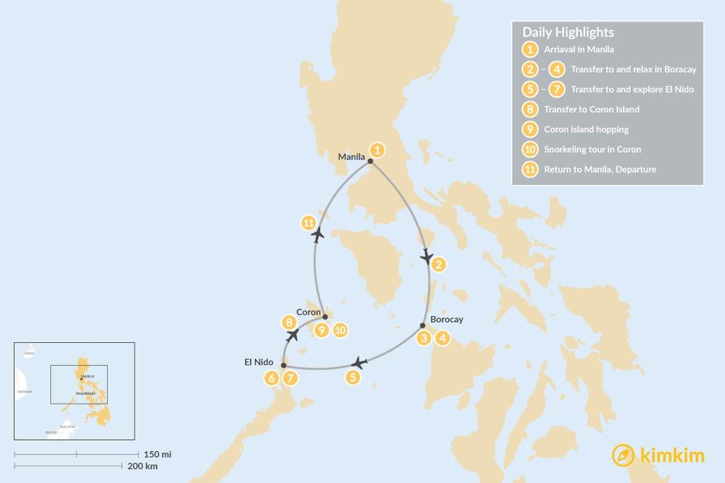 Map of Philippine Honeymoon: Boracay, El Nido & Coron - 11 Days