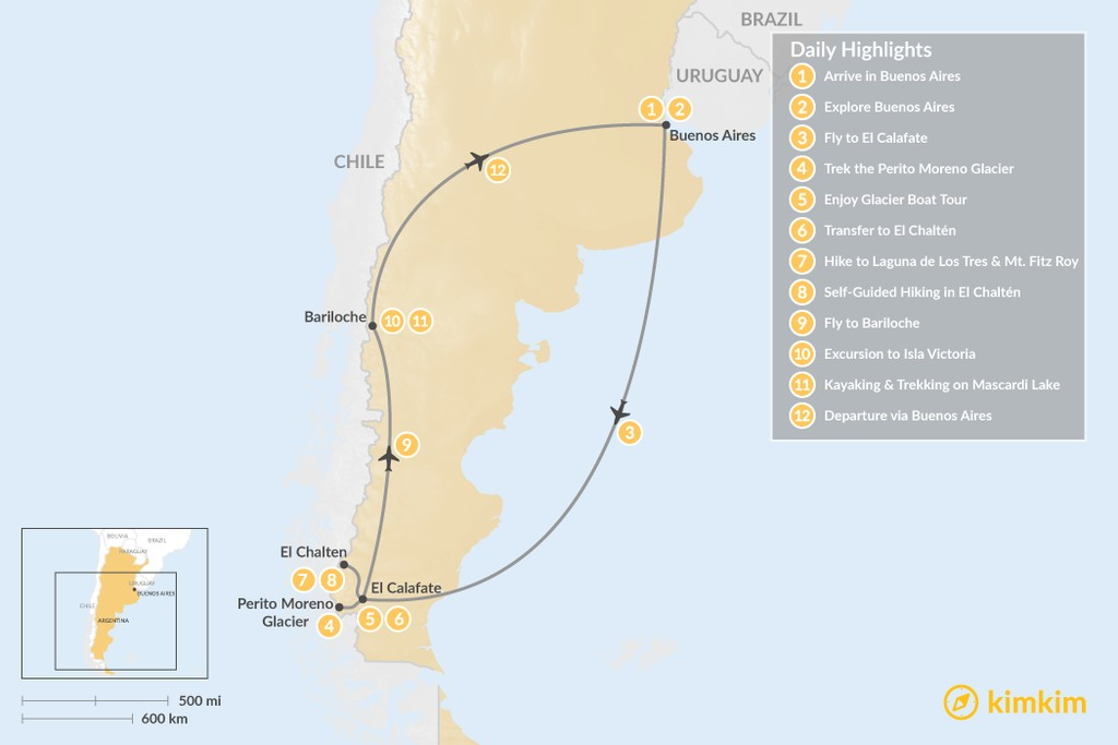 Map of Discovering Argentine Patagonia: Buenos Aires, El Calafate, El Chaltén, Bariloche - 12 Days