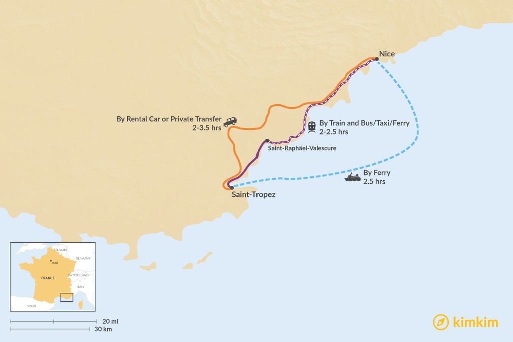 Map of How to Get from Nice to Saint-Tropez