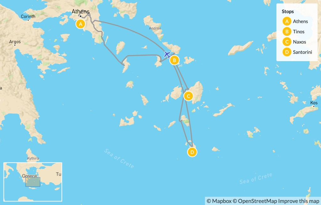 Map of Athens and the Cyclades for Families: Athens, Tinos, Naxos & Santorini - 14 Days