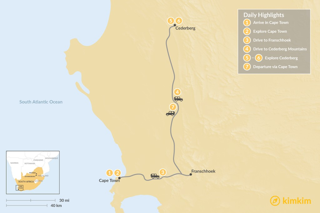 Map of Wine & Nature in South Africa: Cape Town, Winelands, & Cederberg - 7 Days