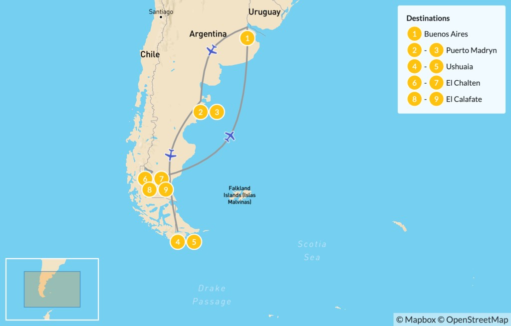Map of Classic Argentine Patagonia - 10 Days