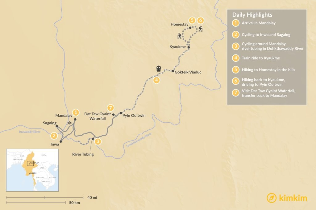 Map of Best of Yangon, Bagan, & Inle Lake- 7 Days