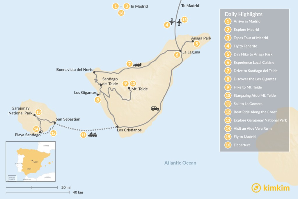Map of Explore Madrid and the Canary Islands: Tenerife and La Gomera - 16 Days