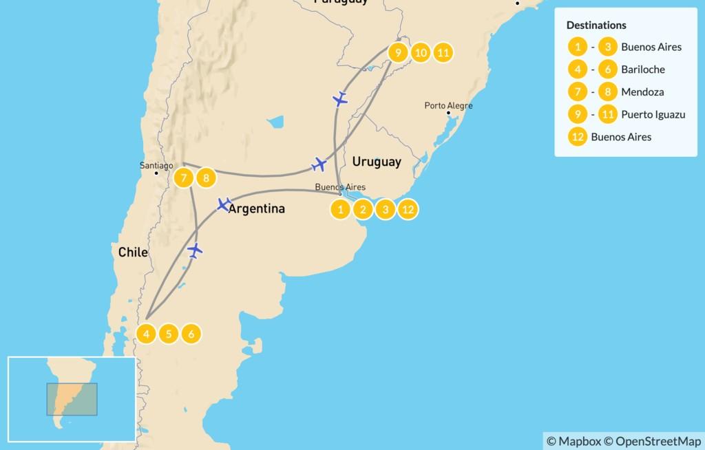 Map of Classic Argentina: Patagonia, Mendoza, & Iguazú - 13 Days