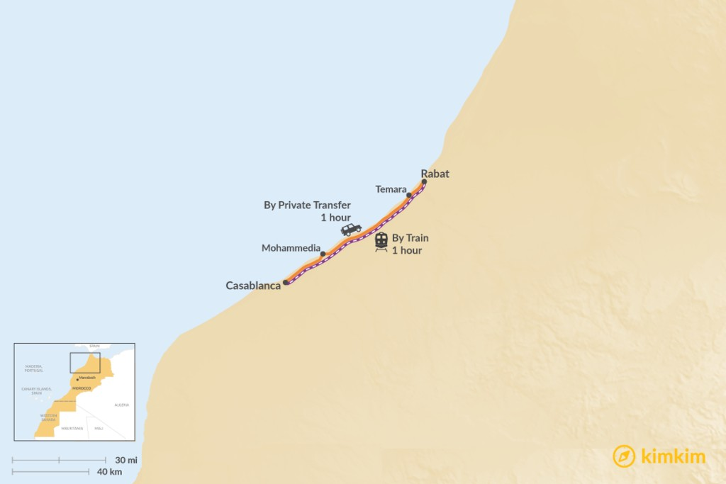Map of How to Get from Casablanca to Rabat