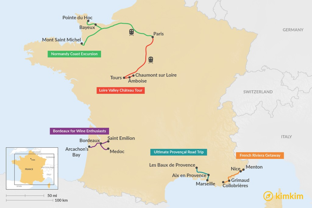 Map of 5 Days in France - 5 Unique Itinerary Ideas