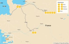 Map thumbnail of Paris, Normandy & the Loire Valley - 10 Days