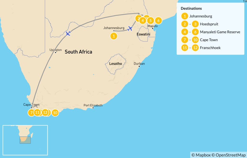 Map of South Africa Safari & Cities: Johannesburg, Kruger Private Reserves, Cape Town, & Winelands - 13 Days