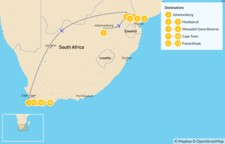 Map thumbnail of South Africa Safari & Cities: Johannesburg, Kruger Private Reserves, Cape Town, & Winelands - 13 Days