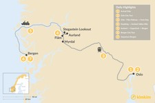 Map thumbnail of Norway Slow Travel: Oslo, Aurland & Bergen - 7 Days