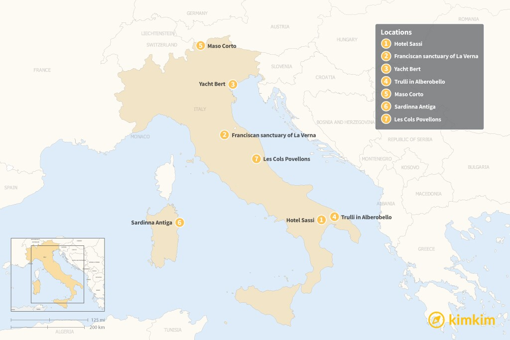 Map of Beyond Hotels: 7 Unique Places to Stay in Italy