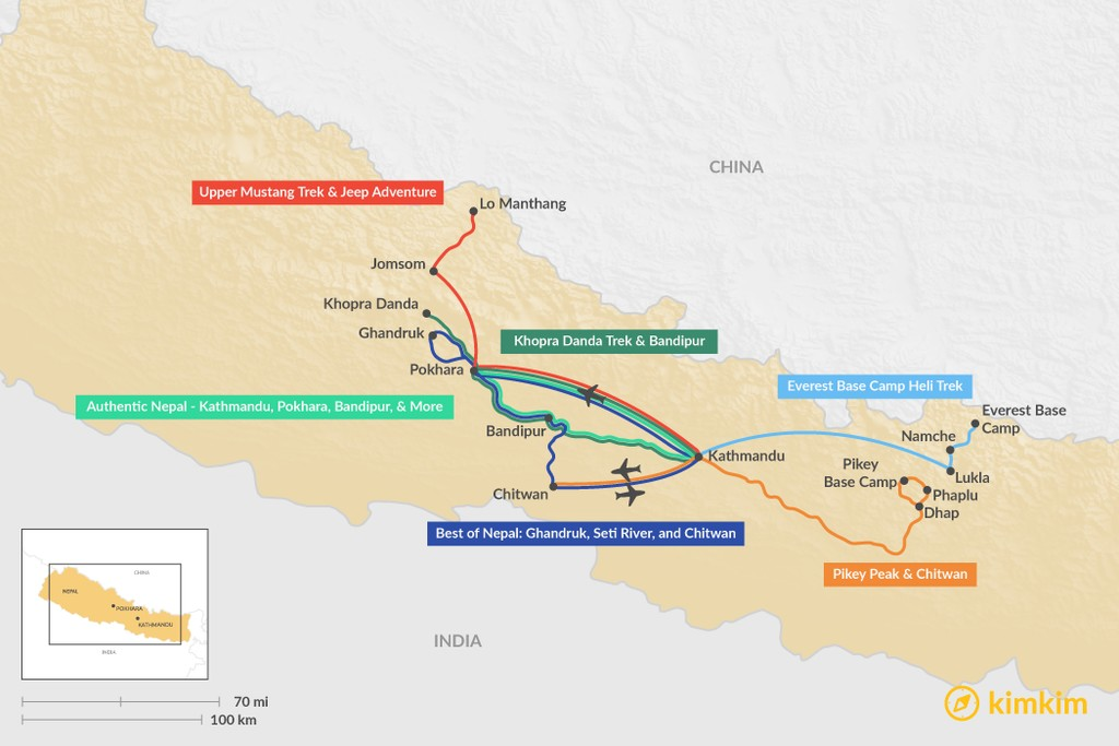 Map of 2 Weeks in Nepal - 6 Unique Itinerary Ideas