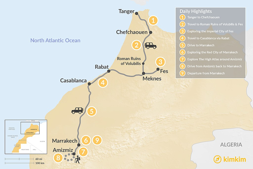 Map of Morocco North to South: Cities & Atlas Hiking - 9 Days