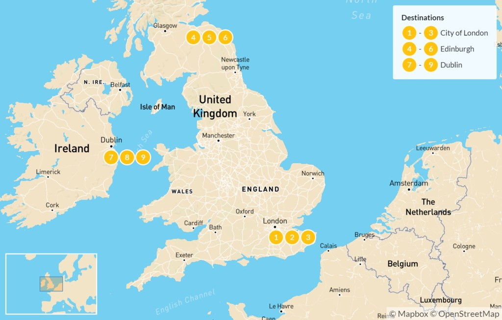 Map of Luxury London, Edinburgh and Dublin Tour - 10 Days