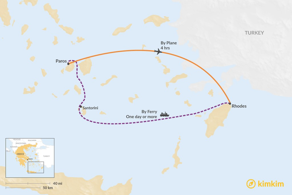 Map of How to Get from Paros to Rhodes