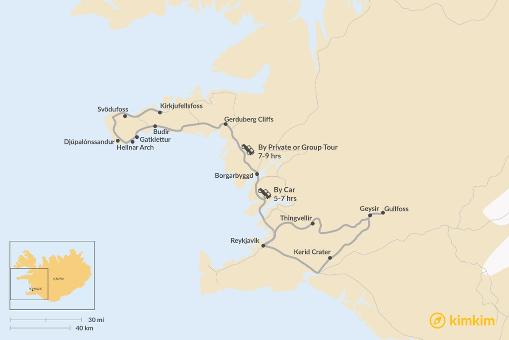 Map of How to Get from Golden Circle to Snæfellsnes Peninsula