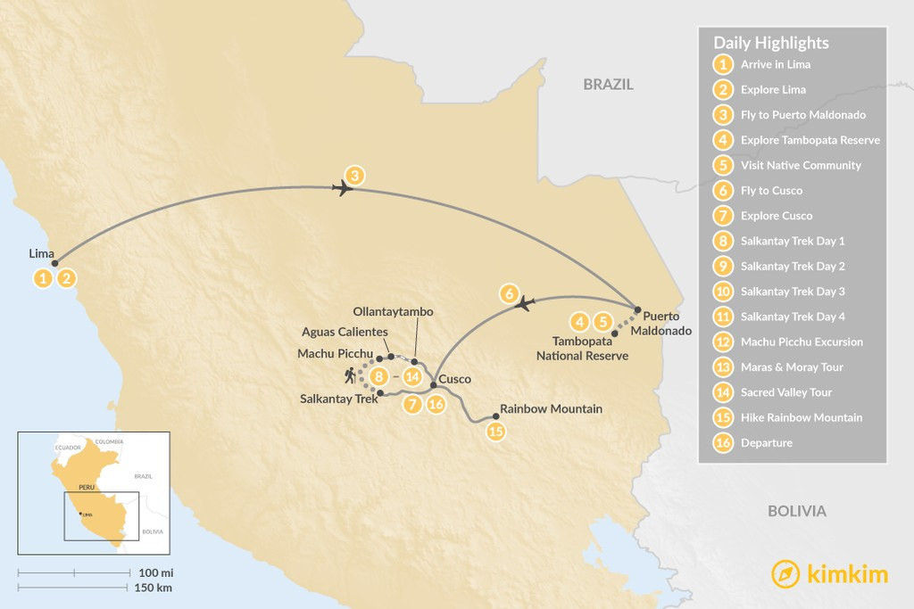 Map of Sacred Valley & Amazon Grand Tour - 16 Days