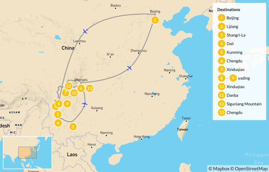 Map of Discover China: Yunnan & Western Sichuan - 14 Days